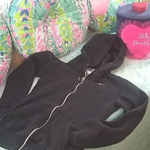 Nike black, full zip, two pockets classic hoodie